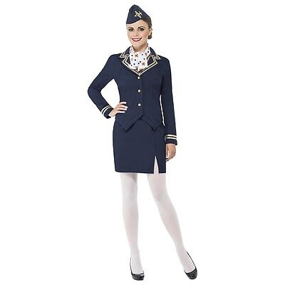 Flight Attendant Costume Adult Womens Halloween Fancy Dress