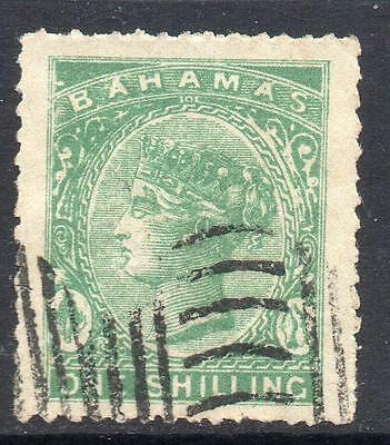 BAHAMAS 1865-98  Period   1/- Green Very Fine Used  please see notes