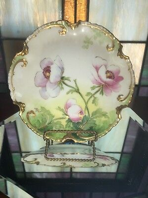 Antique Coronet Handpainted Limoges France Plate Floral w/ Gold Signed Albert