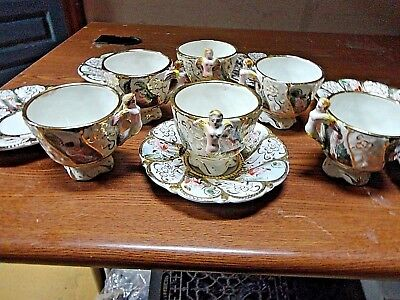 6 Capodimonte Tea Cup and Saucer Set Cherubs Figurehead Handles Italy