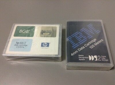 Mixed Lot of 2 HP DDS-2 C5707A & IBM DDS-2 (120 Meters) 4mm Mini Data Cartridges