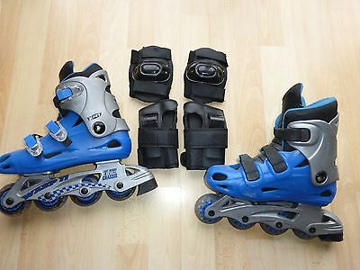 Childrens Inline Skates With Knee Pads & Wrist Pads Size uk 3 Roller