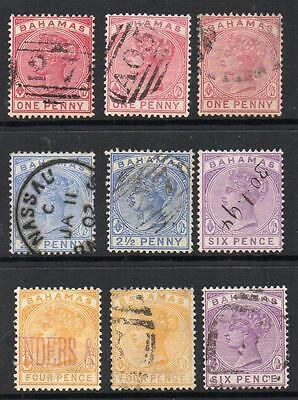 BAHAMAS 1884-90 Group of 9 Various Shades F.Used(cat over£60) No Hidden Faults