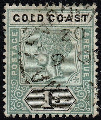 Gold Coast 1899 1s. green & black, used (SG#31)