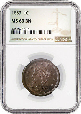 1853 1C Braided Hair Large Cent NGC MS63 BN