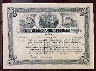 1885 Yellowstone Park Assn. FIRST NATIONAL PARK Stock - IT&SB Charles Gibson!!!