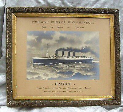 CIRCA 1912 FRAMED PHOTO TRAVEL ADVERTISEMENT for SS FRANCE LUXURY LINER SHIP