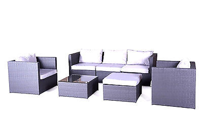 Rattan Garden Furniture Sofa Dining Table Set Conservatory Outdoor 6 Seater