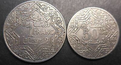 Morocco ND (1921) 50 Centimes , Franc   Coin (2) nice