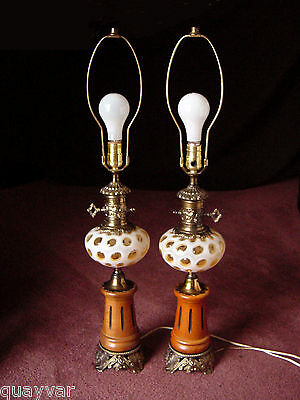 Pair~Set~2 ViNTaGe FENTON HoNeySucKLe OpaLeSCeNT CoiN DoT ArT GLaSs Table Lamps
