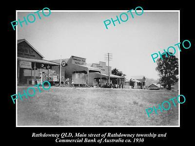 OLD LARGE HISTORIC PHOTO OF RATHDOWNEY QLD, COMMERCIAL BANK OF AUSTRALIA c1930