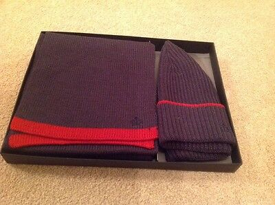 New In Box Jeff Banks Scarf And Hat Gift Set, Navy