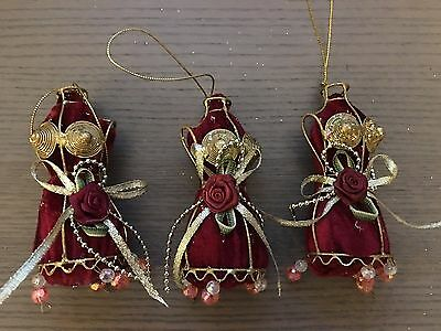 Dark Red and Gold Dress Dummy Christmas Decorations x 3