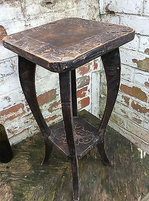 Lovely Vintage Wooden Carved Plant Stand table With Sunflowers, Signed
