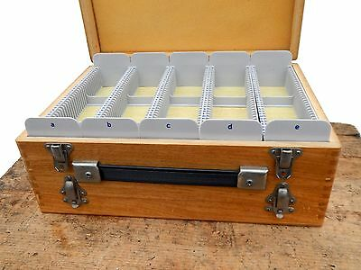 Vintage Double Wooden Storage Carry Case for Photographic Photo Slides 35mm