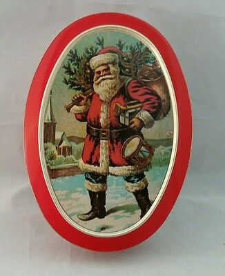 Vintage Santa Clause Metal Tin Oval Red Gold Fabcraft Santa Gifts Snow St. Nick