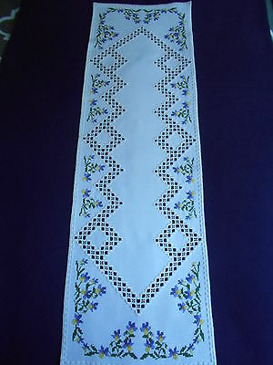 Long Hardanger Table Runner with Cross Stitch Violas