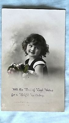 Postcard - Vintage Edwardian cute girl with flowers, Bright Birthday, colourised