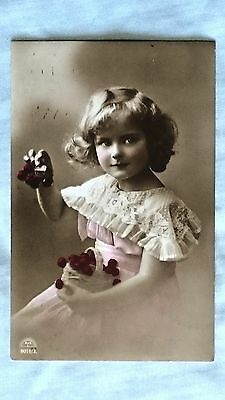 Postcard - Vintage Edwardian pretty girl with basket of cherries, colourised