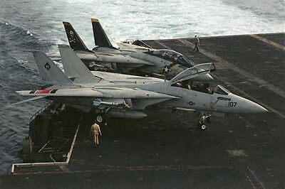 photo F-14 AJ107 VF41, AJ204 VF84 Nimitz Op.Evening Light 24Apr80 (28)