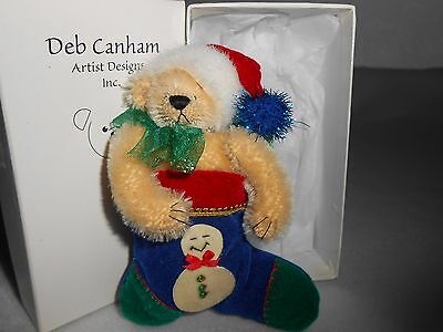 DEB CANHAM MINIATURE TEDDY BEAR HOLIDAY PIN COLLECTION TEDDY IN A STOCKING w/BOX