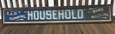 Antique Wooden Sign HOUSEHOLD SEWING MACHINES All Original