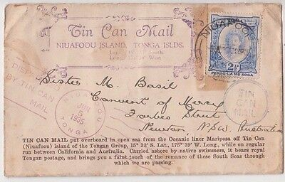 Stamp Tonga 1935 tin can outwards cover to Australia uncommon cachet at back
