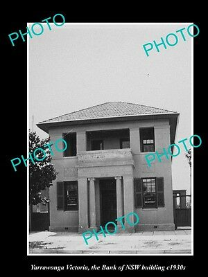 OLD LARGE HISTORIC PHOTO OF YARRAWONGA VICTORIA, BANK OF NSW BUILDING c1930s