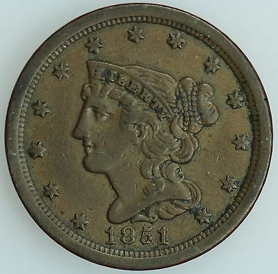 1851 Half Cent! Vf+/xf! 1/2C! Us Coin Lot #1688