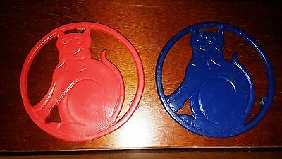 Set of Two, Cast Iron, Painted, Cat Trivets