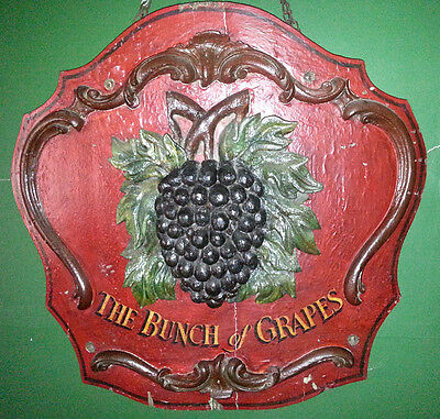 Wonderful Antique THE  BUNCH of GRAPES Pub / Tavern Sign
