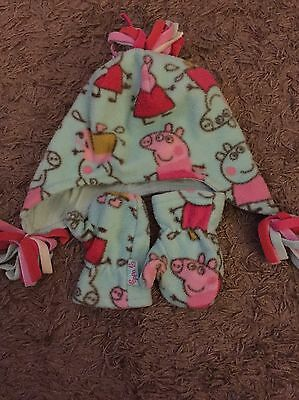 Girls Peppa Pig Hat And Mitten Set From Next