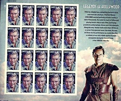Charlton Heston Legends Of Hollywood Forever Stamp Sheet Of 20 Us #4892 Mnh