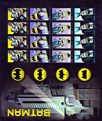 US Batman Forever Stamps Pane of 20 MNH 2014