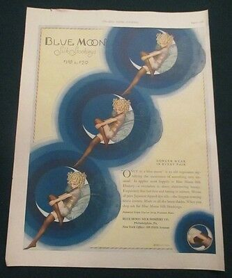 Rare Vintage 1926 Blue Moon Stocking Ad Crescent Moon Pin Up Fairy Terrific Art!