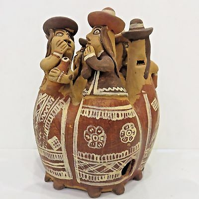 "Vintage Folk Art Peruvian Clay Pottery Whistle w/6 Gossiping Women 6.75"" Tall"