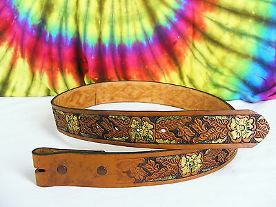 size 31 brown & gold tooled leather vintage western rodeo belt