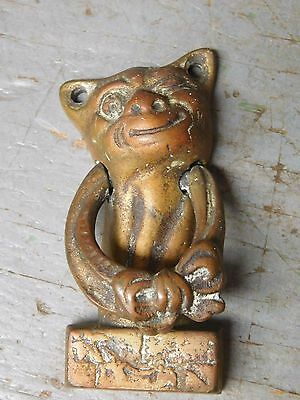 Vintage small brass door knocker imp gremlin cat  grotesque