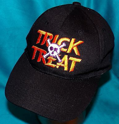 Black Halloween Trick Or Treat Black Skull Crossbones Snapback Baseball Cap Hat
