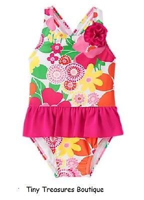 Nwt Gymboree One-Piece Ruffle Tropical Flower Swimsuit Girls 3T