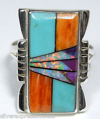 Southwesthern Multicolor, Turquoise, Opal Inlay 925 Sterling Silver Ring 5 - 8.5