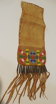 ORIGINAL 1800's NATIVE AMERICAN INDIAN BEADED LEATHER TOBACCO POUCH METAL FRINGE