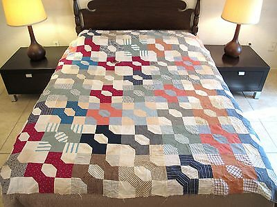 Vintage Hand Sewn Feed Sack & Old Fabrics BOW TIE QUILT TOP, Needs Lots of Work