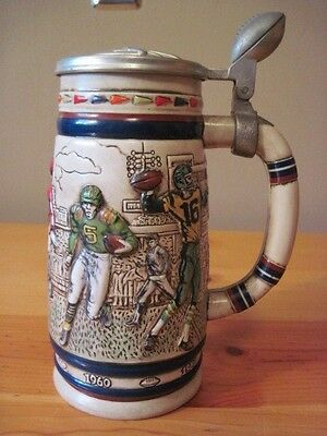 Collectible Avon Stein Made in Brazil 1983 Beer Stein Football Scene  and Lid