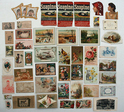 Lot of Victorian Trade Cards & other Old Scraps for Scrapbooking