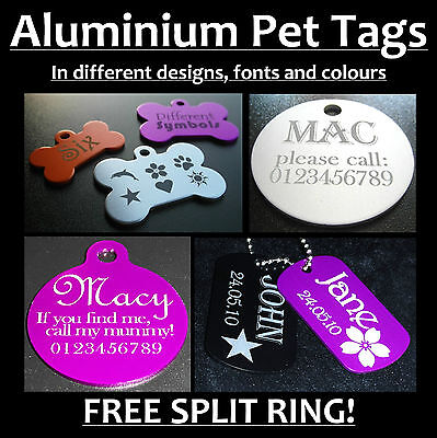 Aluminium Engraved ID Tags for Pets, Army Dog Cat +Free Postage