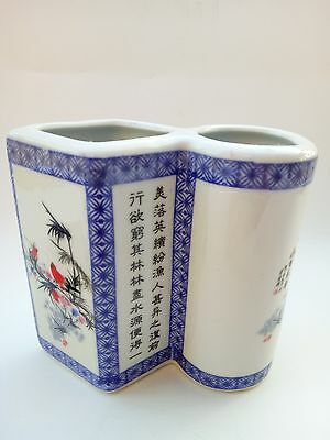 China  porcelain brush pot hand-painted ceramic painting of flowers and birds