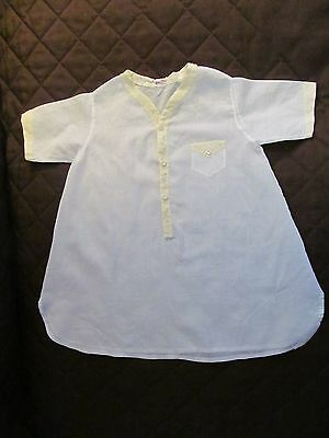Vintage Night Shirt - Boy (or Girl). Yellow Trim, Front Buttons  Baby or Doll