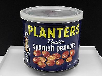 Vintage PLANTERS REDSKIN SPANISH PEANUTS 6 3/4 oz Tin Can Empty Free Shipping!