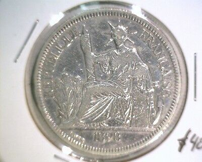 1898 French Indochina Silver Piastre de Commerce Coin KM#5a.1 Liberty .7812 ASW
